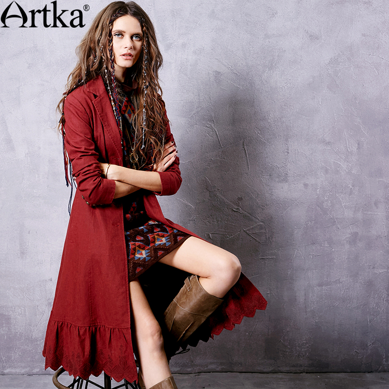 ARTKA Women s 2018 Autumn Claret Embroidery Lacing Trench Vintage Turn down Collar Long Sleeve Ruffle
