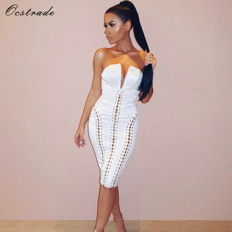 Ocstrade Womens Sexy Bodycon Dress Ladies Summer 2017 Night Party White Jacquard Strapless Dress