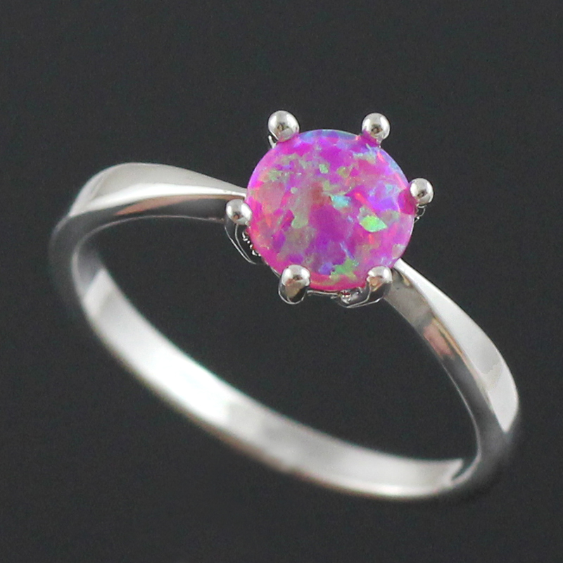 70e1fb435d HAIMIS Pink Fire Opal CZ Women Claw Inay Fashion Jewelry Opal Ring Size 6 7  8 9 23P-in Rings from Jewelry   Accessories on Aliexpress.com