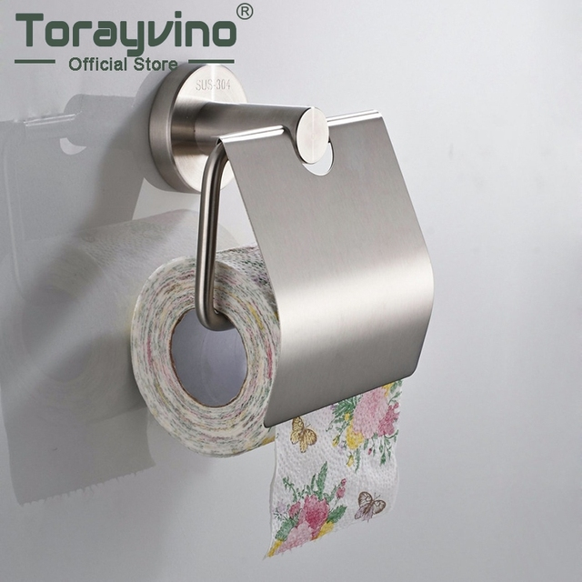 Torayvino Wall Mounted Nickel Brushed Chrome Stainless Steel Toilet Paper Hanging Basket Holders Bathroom Hardware Accessories
