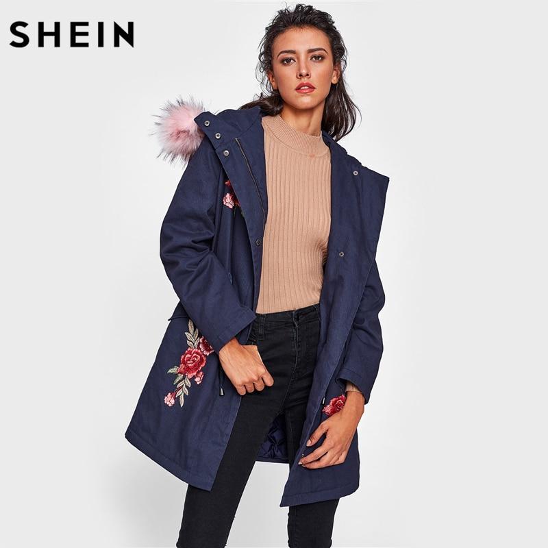 SHEIN Faux Fur Trim Hood Embroidery Applique Coat Casual Women Winter Coats Navy Long Sleeve Zipper Hooded Coat