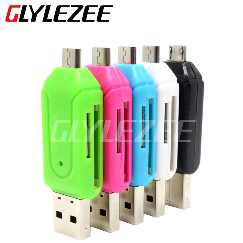 Glylezee 2 in 1 usb otg card reader universal micro usb otg tf sd card reader