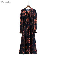 Women Sweet Floral Print Chiffon Dress Two Pieces Set Elastic Waist Long Sleeve Ladies Casual Midi