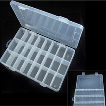 Boutique jewelry storage  Adjustable Plastic 24 Compartment Storage Box Jewelry Earring Bin Case Container Storage Boxes