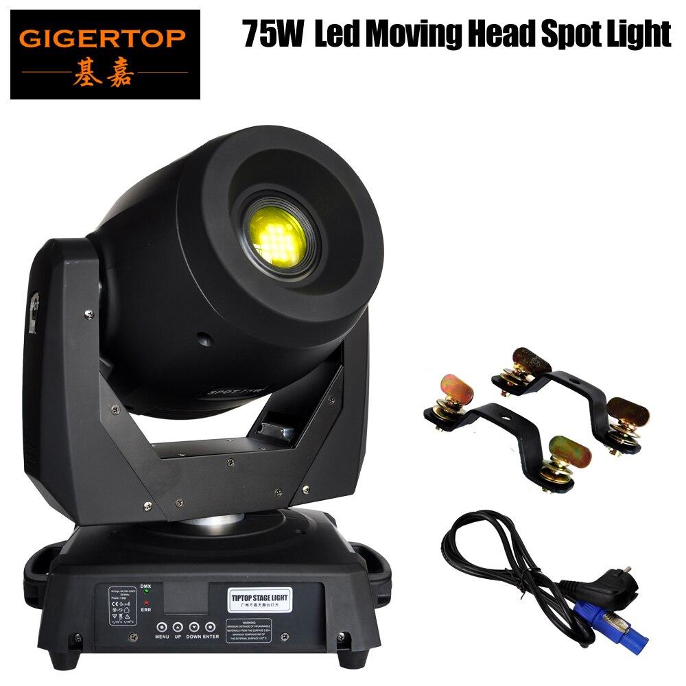 Nouveauté 75 W Led tête mobile Spot lumière DMX 15/19 canal Led Gobo tête mobile Focus électronique, effet prisme 3 facettes 90 V-240 V