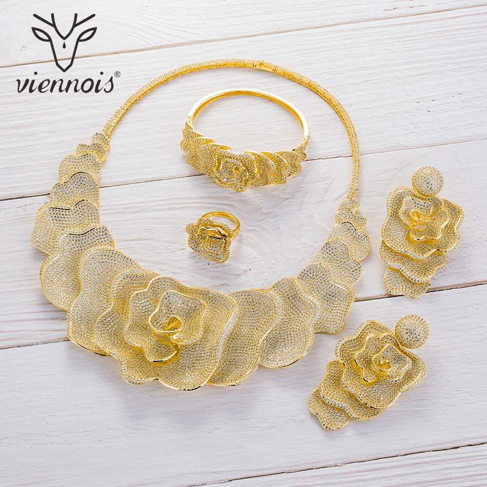 Image 3 - Viennois Gold / Silver / Mixed Color Necklace Set For Women Flower Dangle Earrings Ring Bracelet Set Party Jewelry Set 2019-in Jewelry Sets from Jewelry & Accessories