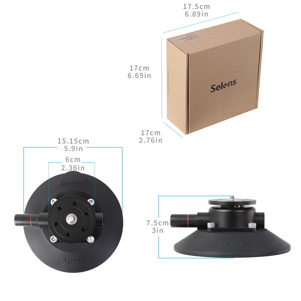 Selens 5,9 pulgadas Power Grip ventosa de vacío sistema de montaje de cámara para cámara DSLR Video teléfono inteligente Gopro - 6