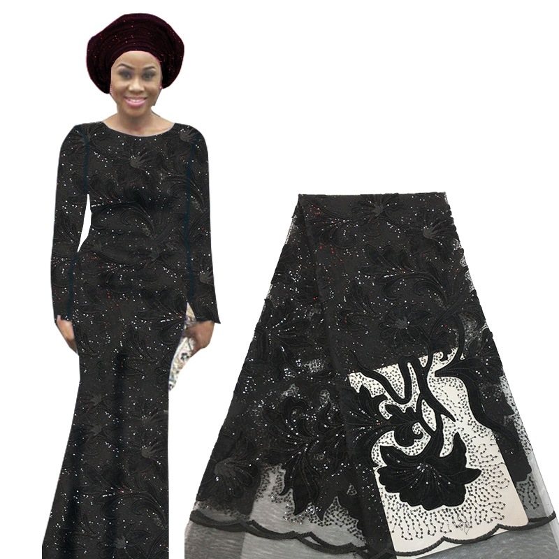 High Quality African Sequin Lace Fabric French Swiss Voile Tulle Lace Fabric For Wedding Party Nigerian Embroidered Laces Fabric