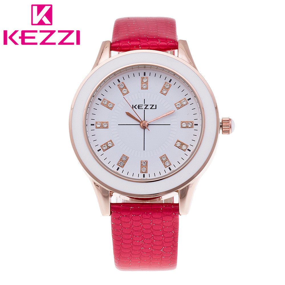 K-753 Fashion KEZZI Women Wristwatch Ladies Luxury Leather Strap Quartz Watch Relogio Feminino Gift KZ137 miler vintage fashion watch women retro leather strap world map casual quartz wristwatch ladies creative clock relogio feminino