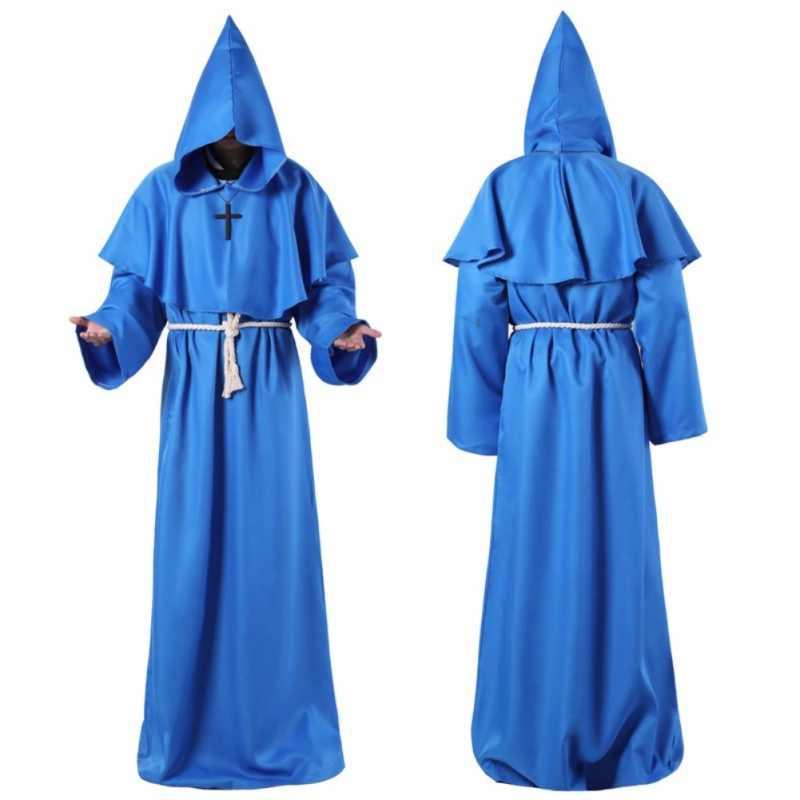 Monk Hooded Robes เสื้อคลุม Cape Friar ยุคกลาง Renaissance Priest Men Robe เสื้อผ้าฮาโลวีน Comic Con PARTY ชุดคอสเพลย์