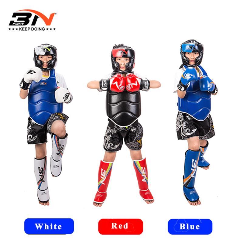 BNPRO3pcs/enfants set gants de boxe couvre-chef protège-tibia karaté mma guantes de boxeo Muay Thai équipement de fitness 110-160 cm 6-10 âge