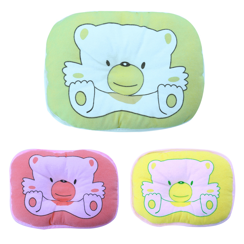 Baby Pillow Newborn Infant Soft Neck Support Bear Printed Head Shape Pillow Baby Shaping Pillow Kids Headrest Head Positioner