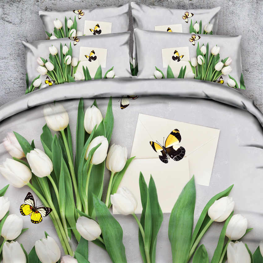 Goldeny 4 Parts Per Set Butterflies and Wedding Bouquet of Roses 3d Bedding