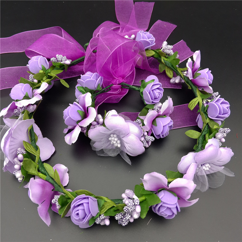 NEW Free shipping KLJH30685 3 70sets lot 7 colors Silk Silk flower headband bracelet Hawaii Dancer
