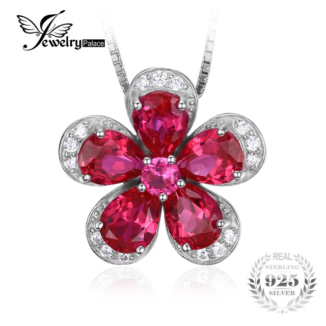 Jewelrypalace Flower 5ct Created Red Ruby Pendant 925 Sterling Silver Brand Hot Fashion Set Noble Beautiful Jewelry No Chain