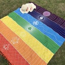 Богемия на стене Индии Мандала Одеяла 7 Чакра Цветной Гобелены в радужную полоску путешествия летние пляжные Полотенца Йога Коврики