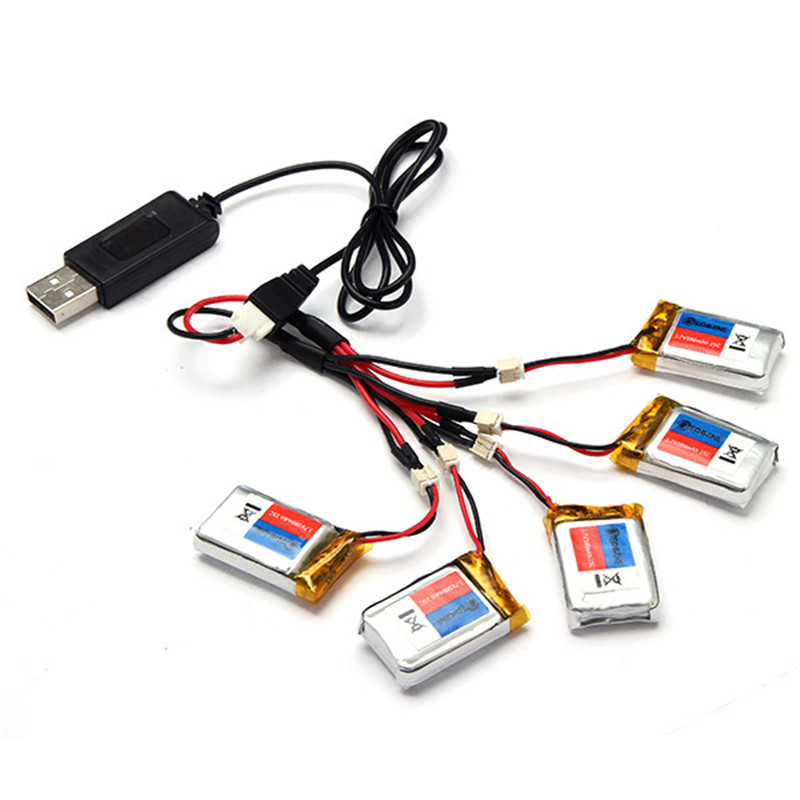 ФОТО 5x 3.7v 300mah lipo battery with charging cable for eachine h8c mini rc quadcopter