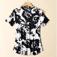 Женские летние рубашки больших размеров 96%, женские шелковые рубашки больших размеров d, тонкий Шелковый укороченный лонгслив, Женская дыша