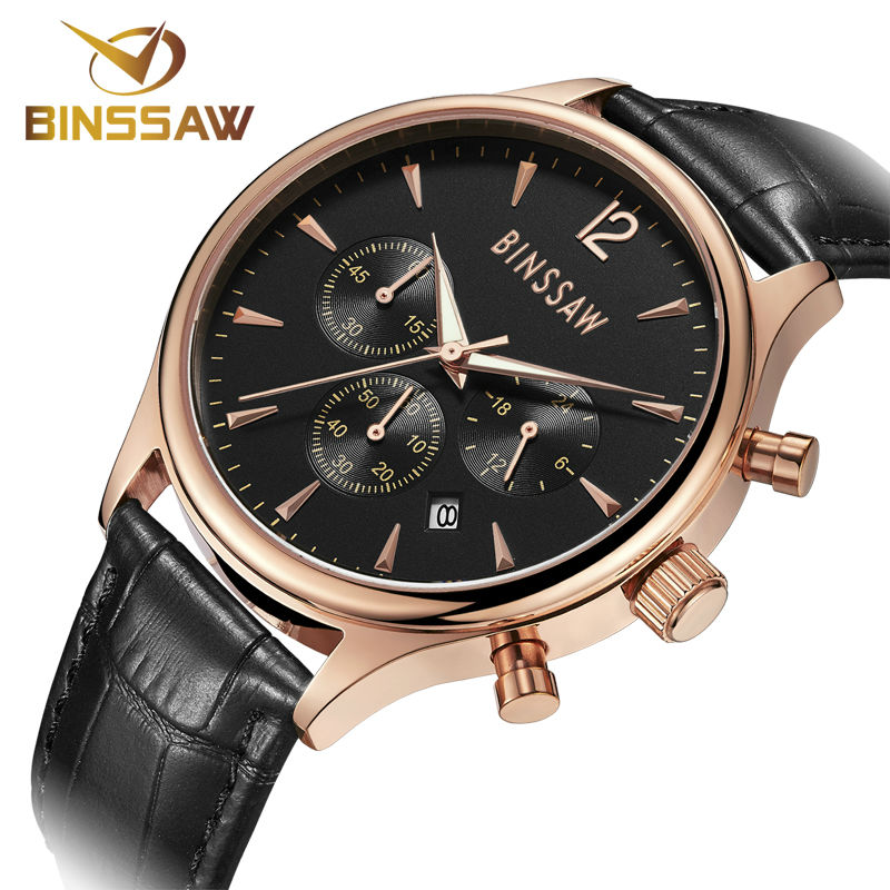 BINSSAW Fashion Watches Men Top Brand Luxury Quartz Watch Male Business Wristwatch Mens Leather Dress Clock relogio masculino hongc watch men quartz mens watches top brand luxury casual sports wristwatch leather strap male clock men relogio masculino