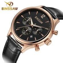 BINSSAW Fashion Watches Men Top Brand Luxury Quartz Watch Male Business Wristwatch Mens Leather Dress Clock relogio masculino
