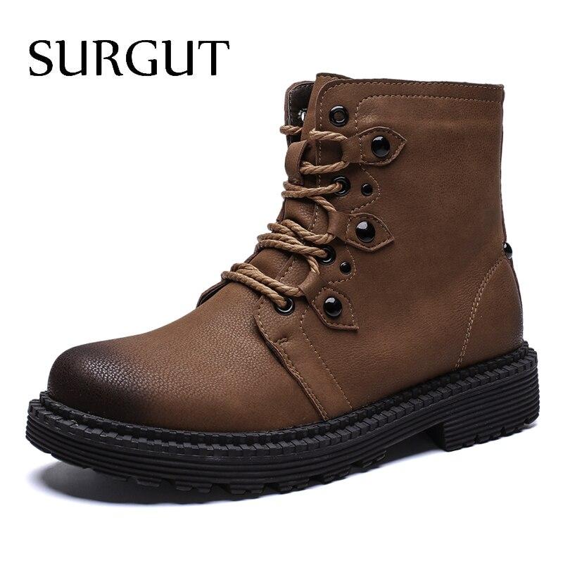 SURGUT Marke Herbst Heißer Verkauf Stiefel Männer Retro Spitze-Up Männliche  Schuhe Komfortable Weiche Warm 27ae0ac48a