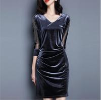 Cộng với kích thước 3xl mùa thu dress phụ nữ tính khí slim v-cổ retro nhung vàng package hip bodycon dress knee length dresses
