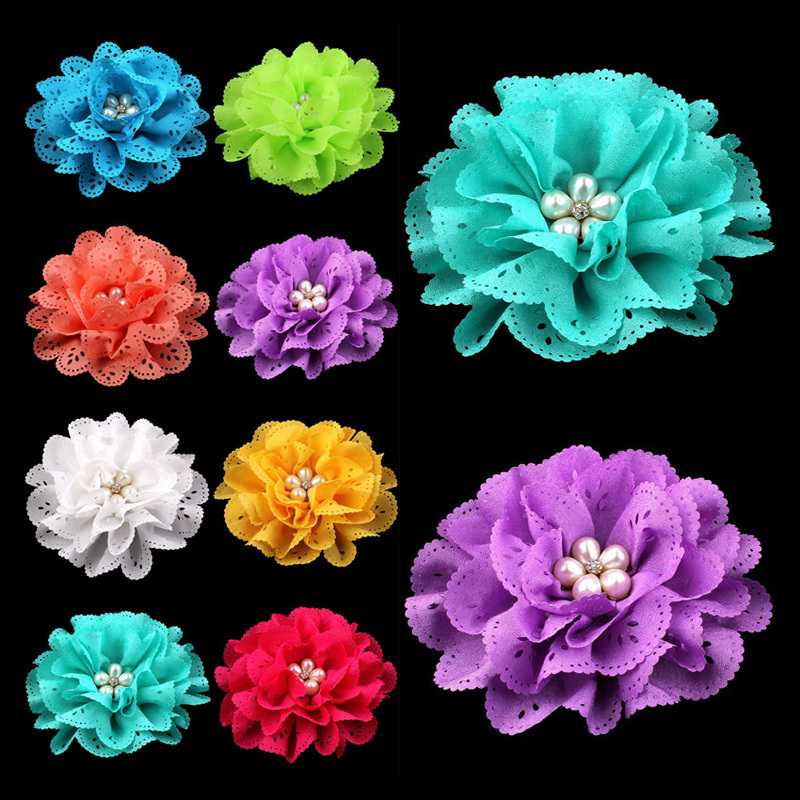 120pcs/lot 4 15colors Artificial Eyelet Hair Flower+Pearl Button For Children Hair Accessories Fabric Flowers For Headbands