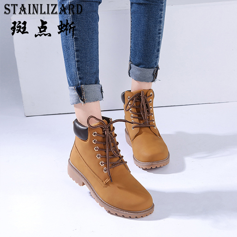2017 Women Boots Autumn Casual Winter Suede Tooling Flat Boot Leather Martin boots Zapatos Mujer New Arrival  Flat Shoes DT967 2017 fashion autumn genuine leather red women boots winter black flat martin solid ladies shoes woman boots zapatos mujer 1406n
