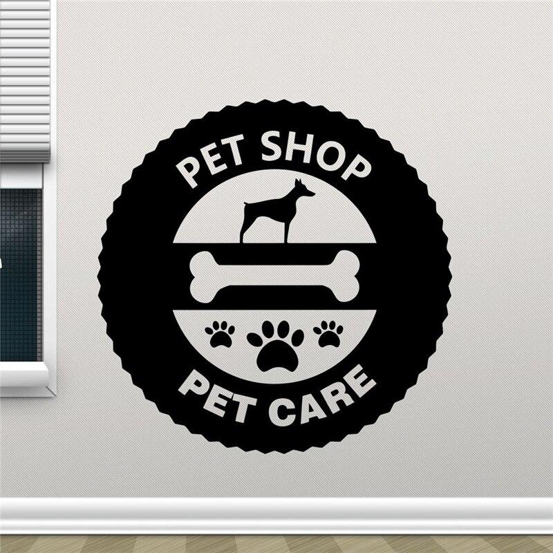Pet Shop Logo Wall Decal Pet Care Dog Wall Sticker Animal Design Pet Shop Wall Art Teen Boy Room Wall Decor X410
