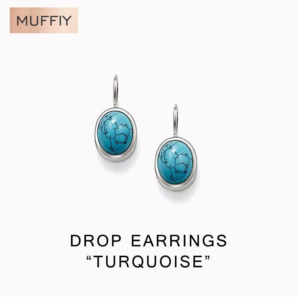 Piedra azul Pendientes de Clip, Thomas Estilo Glam Buena Joyería de Moda Para La