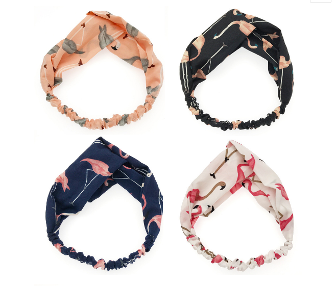 1/4 PCS Women Fashion Headbands Cartoon Flamingo Cross Hair Bands Turban Bandage Bandana Headwear Head wrap Hair Accessories