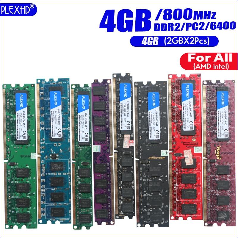 PLEXHD 4G 4GB(2GBX2pcs) DDR2 pc2 6400 800Mhz For Desktop PC pc2-6400 ddr2 800 MHZ (For intel amd) High Compatible 5