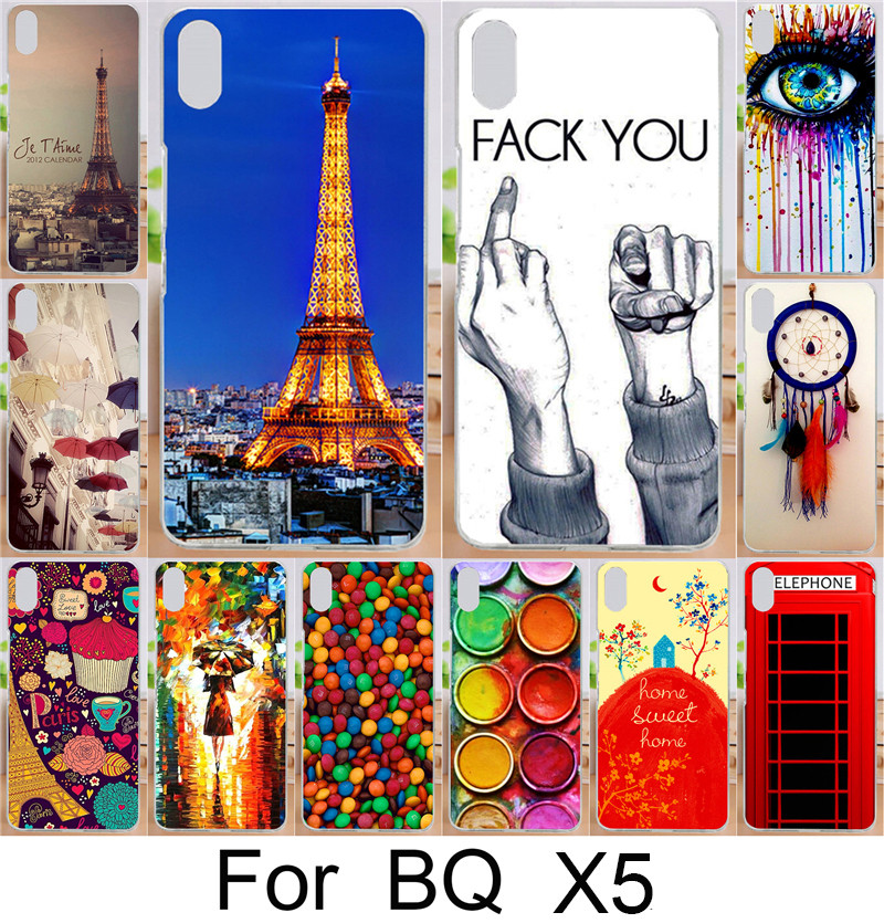 Cases For BQ Aquaris X5 Moblie Phone Case Cover Shell Eiffel Tower Sweet Home Dream Girl Fack You eye Sex Painted Case Hood Capa