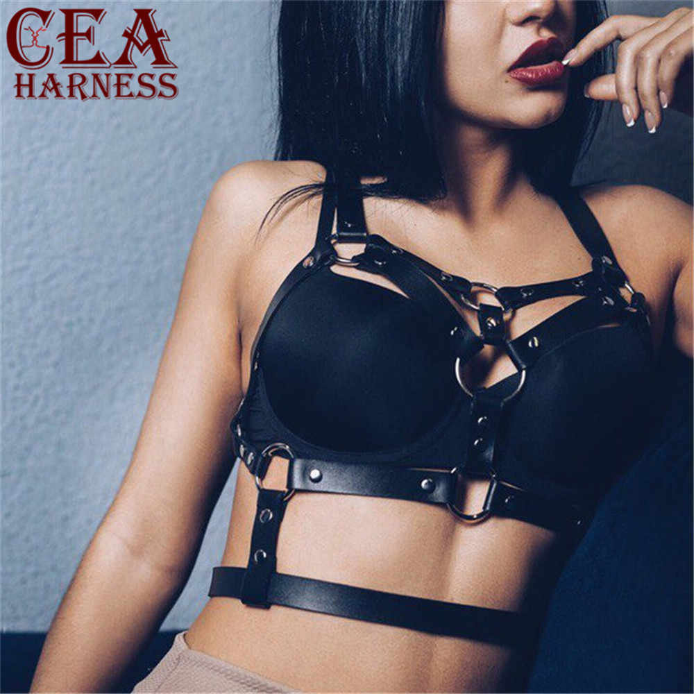 CEA.HARNESS Fashion Punk Cupless Bra Top Leather Harness Belt Body Bondage Chest Straps Black Studded Rivet Cropped Top