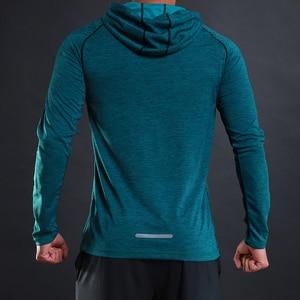 Image 2 - FLORATA 새로운 트렌디 한 가을 남성 T 셔츠 캐주얼 긴 소매 슬림 남성 기본 탑스 티셔츠 스트레치 티셔츠 편안한 후드 티셔츠