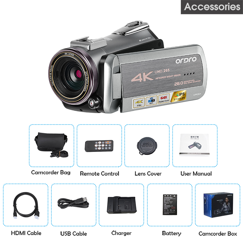 AZ50 Real 4K Video Camera 30FPS Night Vision 4K Camcorder H.265 Format Support Stereo Microphone GPS Receiver