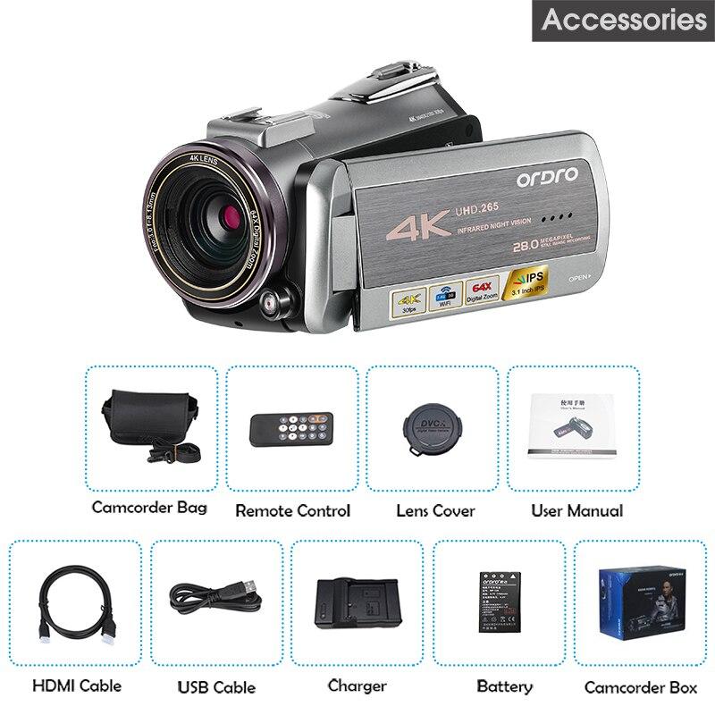AZ50 réel 4 K caméra vidéo 30FPS Vision nocturne 4 K caméscope H.265 Format Support stéréo Microphone GPS récepteur