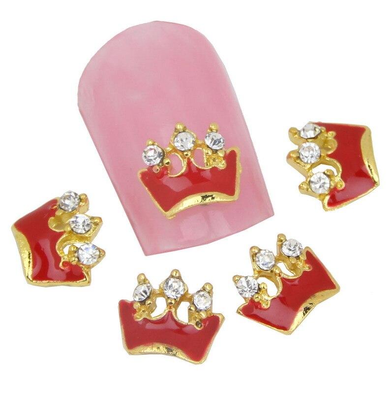 10 pçs/lote Manicure unhas ferramentas coroa de ouro com Rhinstones 3D liga unhas adesivos e decalques beleza maquiagem DIY ferramentas unhas MA0120