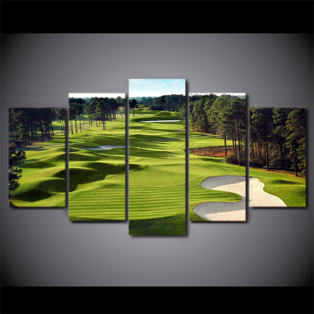 Canvas Print 5 Pieces Paintings Golf Course Wall Art Pictures Living Room Pcs Posters Modular
