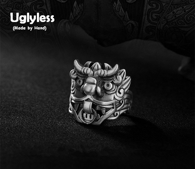 Uglyless S 990 Silver Fine Jewelry Handmade Ancient Animal Totem Rings for Men Cool Thai Silver Finger Ring Demon Charms Bijoux hubsan 2 pairs original rc drone parts propeller blade for hubsan h501s h501c h501a h501m 501 rc quadcopter toy part accessories