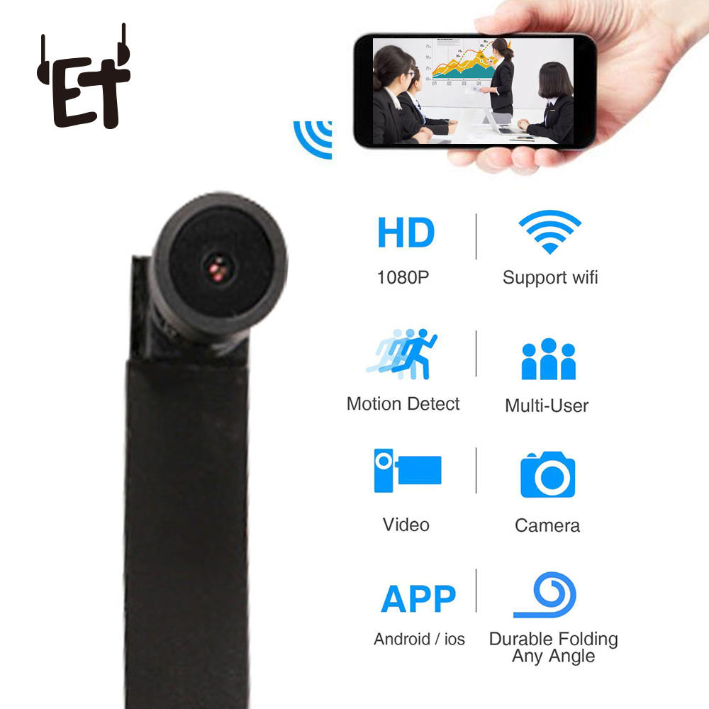 ET Ultra Mini WIFI Flexible Camera 1080P Full HD Video Audio Recorder Motion Detection Camcorder IP P2P Micro Cam 3000mAh hd 1080p wifi camera with time display electronic clock dv camcorder p2p motion detection mini ip camera video recorder