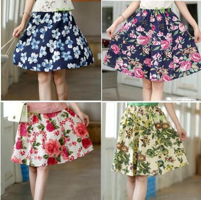 Women short skirt linen cotton Bohemia Leaf pattern beach skirt Lady skirt women clothes