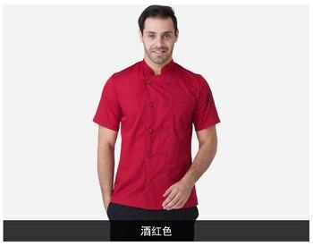 Новый костюм повара наивысшего качества с коротким рукавом для ресторана, униформа повара, двубортная одежда для повара в отельной кухне, р...