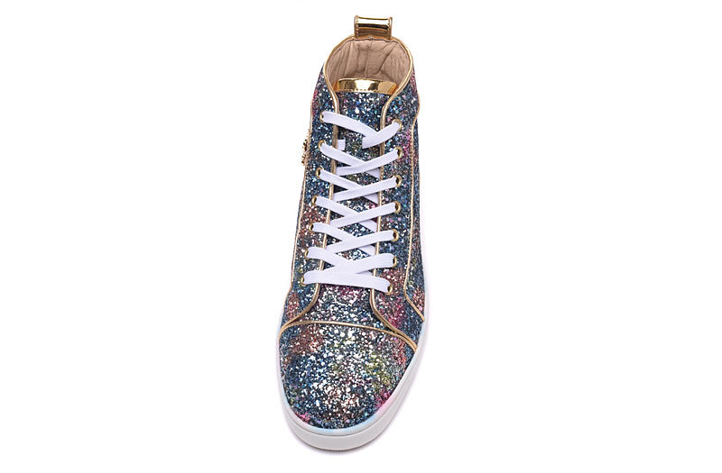 Tenis Masculin Men Sneakers Sequin Luxury Brand Blue Glitter Embellished  Strass Flat Shoes For Men High Top Lace Up Casual Shoes-in Men s Casual  Shoes from ... 26f20cc00961