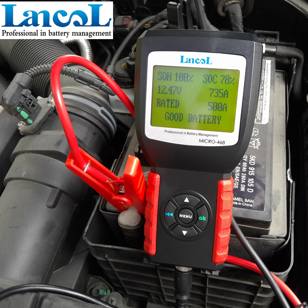 Lancol MICRO-468 Car Battery Tester 12V Digital Battery Analyzer Multi Languages Diagnostic Tool digital car battery load tester with printer micro 300 2000cca 200ah 12v car diagnostic tool battery capacity checker