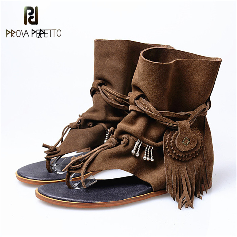 Prova Perfetto 2019 Autumn Women Fashion Gladiator Low Heels Flip Flops Sandals Real Suede Leather Top