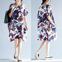 Kích thước lớn cộng với kích thước Kỳ Nghỉ phụ nữ Fancy loose mùa hè ăn mặc Rửa cotton linen dresses đối với phụ nữ chất béo 100 kg 3571C