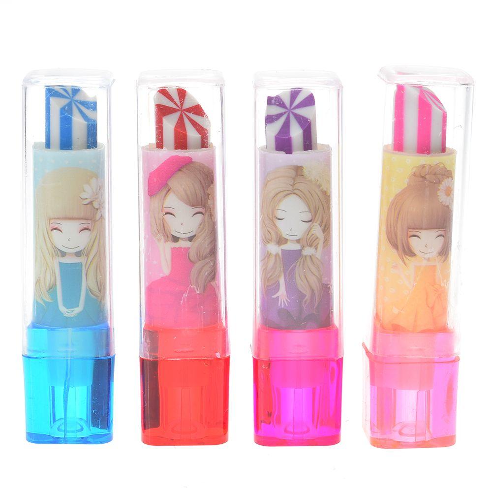 1pcs Korea Lipstick Eraser Escolar Kawaii Pencil Creative Eraser Stationery School Office Supplies Stationery Student