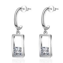 XIYANIKE 925 Sterling Silver Trendy Elegant Geometric Earrings Handmade Zircon Small Drop Earring