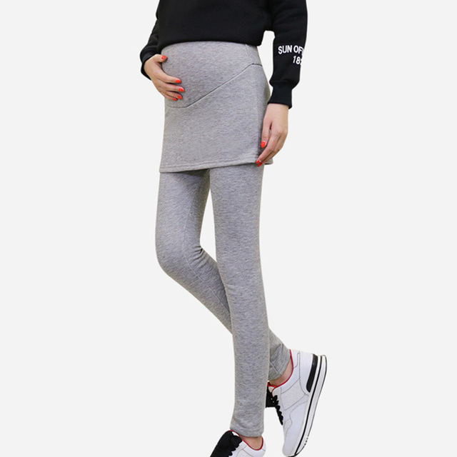 Autumn Winter Skirt Leggings Maternity Clothes for Pregnant False Two Piece Leggings Belly Pants Comfortable Pregnancy Clothes